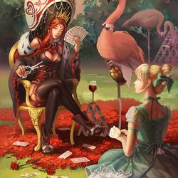 Пазл онлайн: Алиса и Королева червей