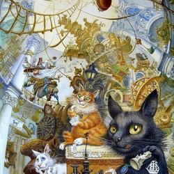 Пазл онлайн: Эрмитажные коты