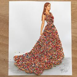 Пазл онлайн: Платье из посыпки для торта