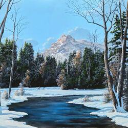 Пазл онлайн: Речка зимой