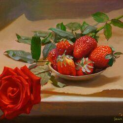 Пазл онлайн: Роза и клубника