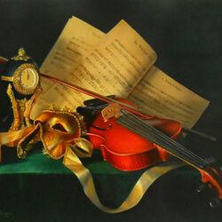 Пазл онлайн: Натюрморт со скрипкой