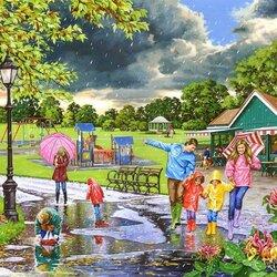 Пазл онлайн: Прогулка под дождем