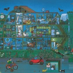 Пазл онлайн: Ночная жизнь дома