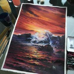 Пазл онлайн: Вечернее море