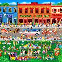 Пазл онлайн: Парад в маленьком городке