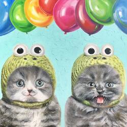Пазл онлайн: Кошки и шарики
