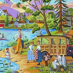 Пазл онлайн: Пикник на берегу озера