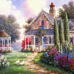 Пазл онлайн: Цветущий дворик
