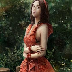 Пазл онлайн: Девушка в оранжевом платье