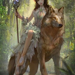 Пазл онлайн: Верхом на волке