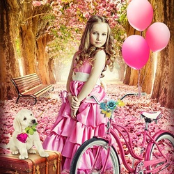 Пазл онлайн: Девочка с розовым велосипедом