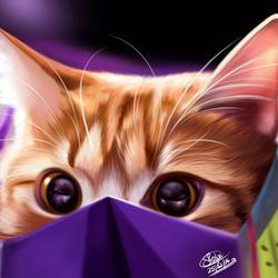 Пазл онлайн: Кот в пакете