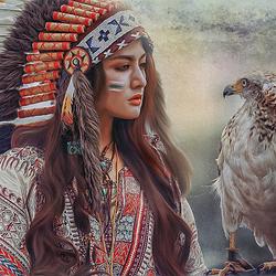 Пазл онлайн: Девушка-индеец с орлом