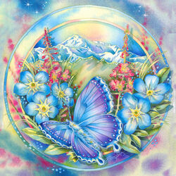 Пазл онлайн: Синяя бабочка