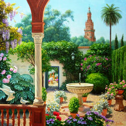 Пазл онлайн: Внутренний дворик с фонтаном