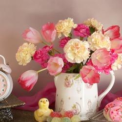 Пазл онлайн: Тюльпаны и гвоздики