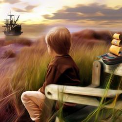 Пазл онлайн: Мальчик и море