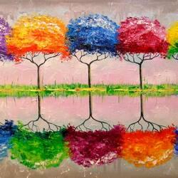 Пазл онлайн: Радужные деревья