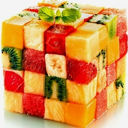 Пазл онлайн: Кубик-фруктик