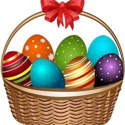 Пазл онлайн: Корзинка с пасхальными яйцами