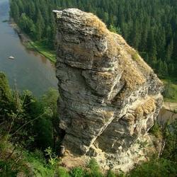Пазл онлайн: Речка с высоты горы