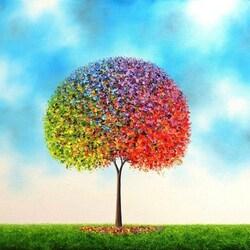 Пазл онлайн: Разноцветное дерево