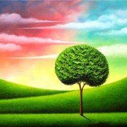Пазл онлайн: Зеленое дерево