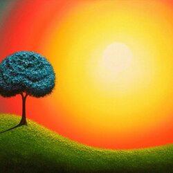 Пазл онлайн: Синее дерево