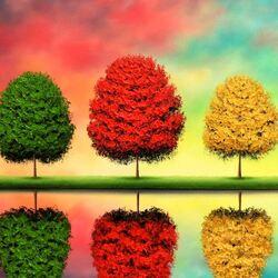 Пазл онлайн: Цветные деревья