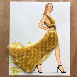Пазл онлайн: Платье из сот