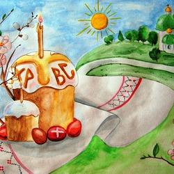 Пазл онлайн: Рисунок к Пасхе