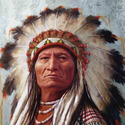 Пазл онлайн: Вождь индейцев