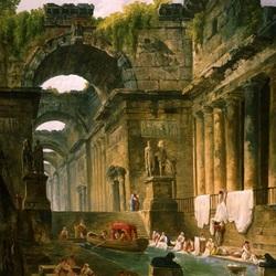Пазл онлайн: Развалины Римской бани с прачками