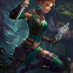 Пазл онлайн: Эльфийка и волшебные кинжалы