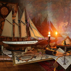 Пазл онлайн: Натюрморт с парусником