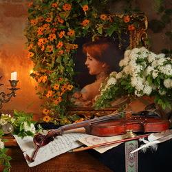 Пазл онлайн: Натюрморт со скрипкой и картиной