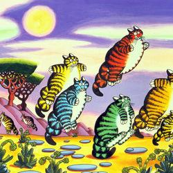 Пазл онлайн: Прыгающие коты