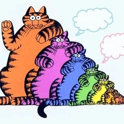 Пазл онлайн: Радужные коты