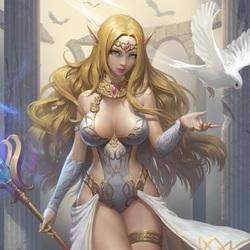 Пазл онлайн: Эльфийка и голубь