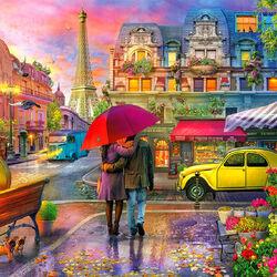 Пазл онлайн: Парижский дождь