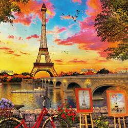 Пазл онлайн: Закат в Париже