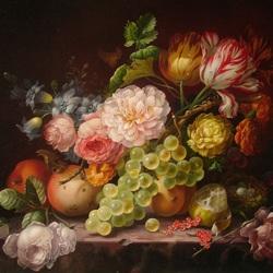 Пазл онлайн: Тюльпаны и виноград