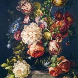 Пазл онлайн: Букет с полосатыми тюльпанами