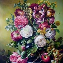 Пазл онлайн: Букет с розами и виноградом
