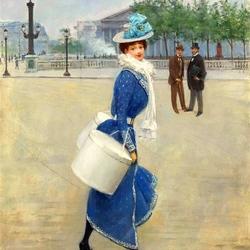 Пазл онлайн: Девушка на площади Конкорд