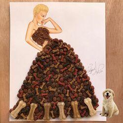 Пазл онлайн: Платье из корма для собак