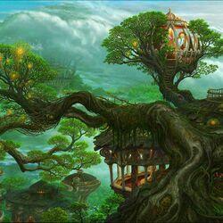 Пазл онлайн: Город в деревьях