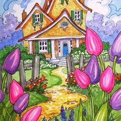 Пазл онлайн: Тюльпаны в саду