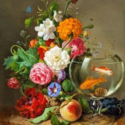 Пазл онлайн: Букет цветов и золотые рыбки